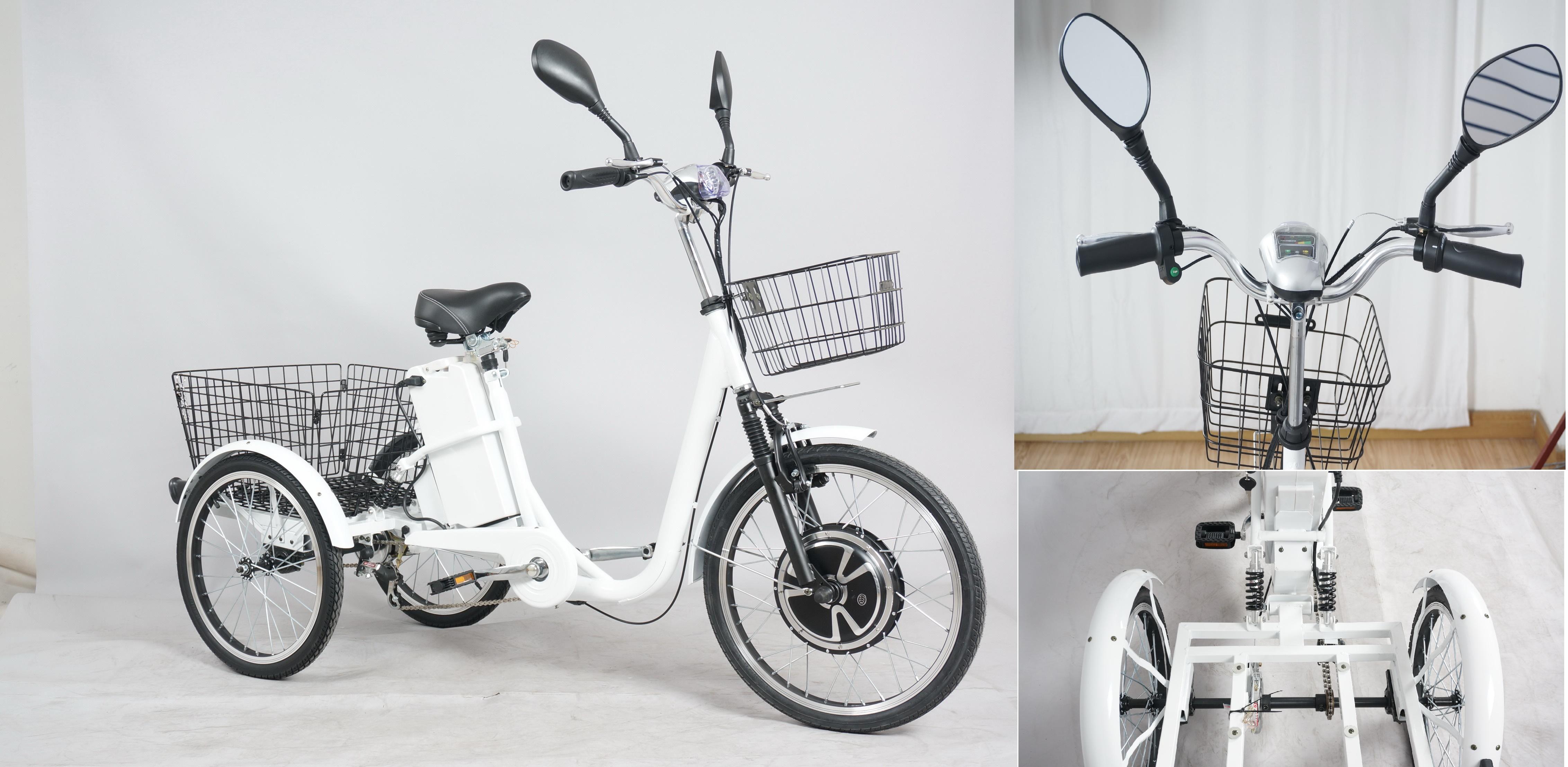 bicicletta elettrica a tre ruote con ammortizzatori